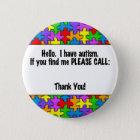 Please Call Autism ID Tag 6 Cm Round Badge