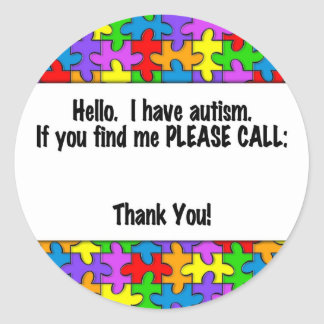 Please Call Autism ID Tag Round Sticker