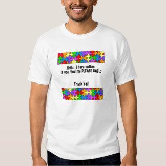 Please Call Autism ID Tag Tee Shirts