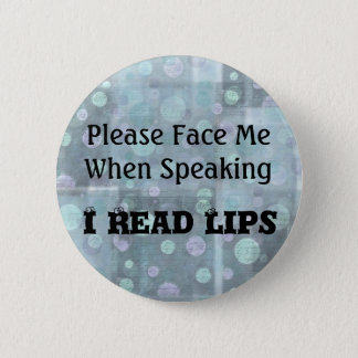 Please Face Me Button in Blue
