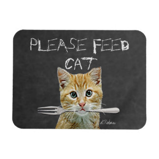 Please Feed Cat Rectangular Photo Magnet
