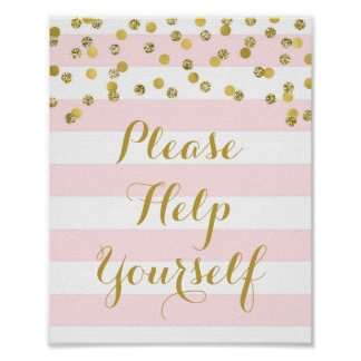 Please Help Yourself Sign Pink Stripes Gold