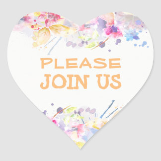 Please Join US Sticker Watercolor Design