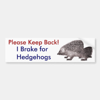 Please Keep Back -- I Brake for Hedgehogs Bumper Sticker