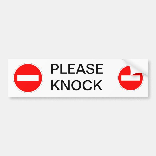 Please Knock Sign Bumper Sticker