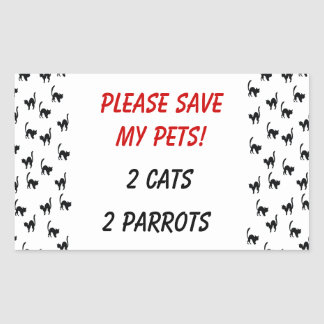 Please Save My Pets! Rectangular Sticker
