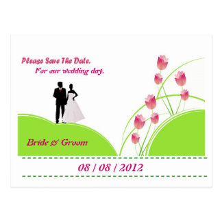 Please Save the Date (Green and Pink) Postcard