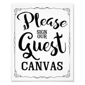 please sign our guest canvas wedding sign