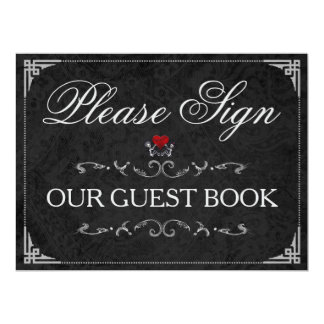 Please Sign Our GuestBook Halloween Skeletons Sign Card