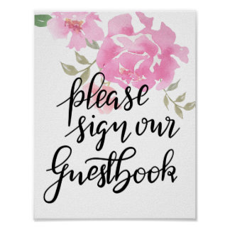 Please Sign Our Guestbook Script Floral Wedding