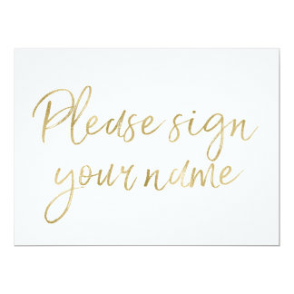 """""""Please sign your name"""" Stylish Gold Sign Card"""