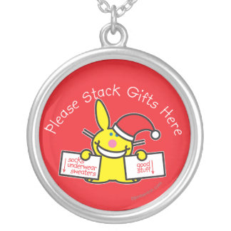 Please Stack Gifts Here Silver Plated Necklace