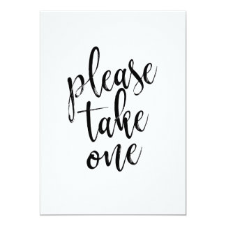 Please Take One Affordable Wedding Sign Card