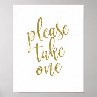 Please Take One Glitter 8x10 Wedding Sign