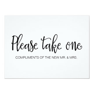 """Please Take One"" Wedding Favors Sign Card"