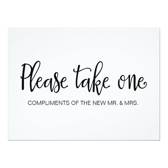 Please Take One Wedding Favors Sign Invitation Zazzle