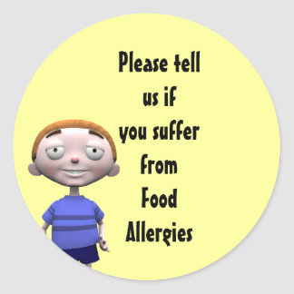Please tell us if you suffer from Food Allergies Round Sticker