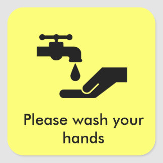 Please wash your hands square sticker