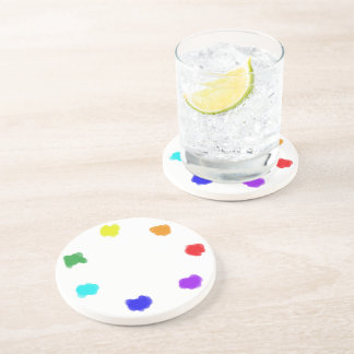 Pleasing Palette ~~ Multicolored Collage Beverage Coasters