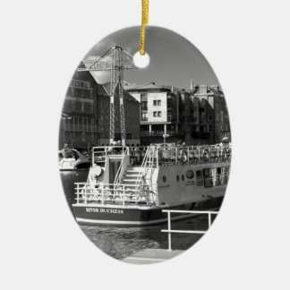 Pleasure boats on the York river Ouse. Ceramic Oval Decoration