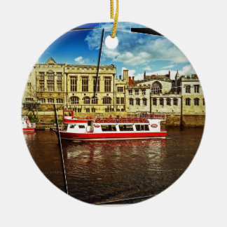 Pleasure cruise on the Ouse Round Ceramic Decoration