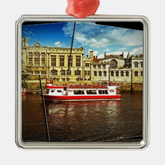 Pleasure cruise on the Ouse Silver-Colored Square Decoration