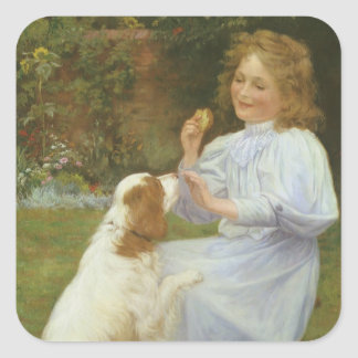 Pleasures of Hope by Gore, Vintage Victorian Square Sticker