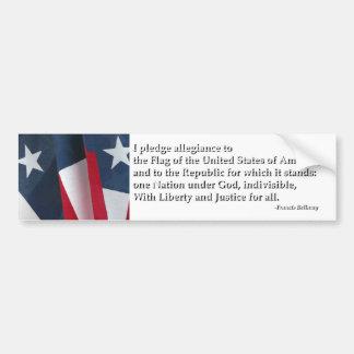 Pledge of Allegiance Bumper Sticker Car Bumper Sticker
