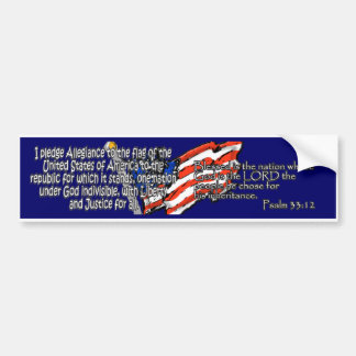 Pledge of Allegiance Psalm 33:12 Car Bumper Sticker