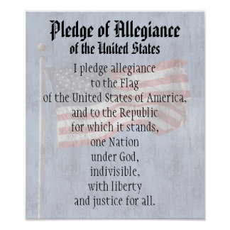 Pledge of Allegiance US Flag History Classroom Poster