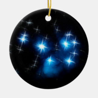 Pleiades Blue Star Cluster Round Ceramic Decoration