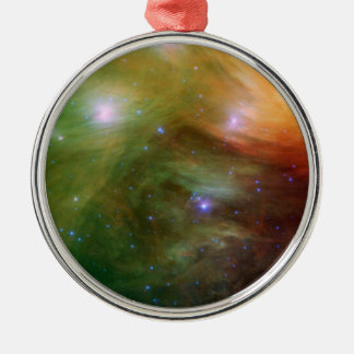 Pleiades The 7 sisters in infrared Silver-Colored Round Decoration