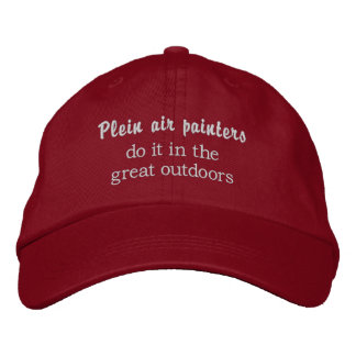 Plein air painters do it in the great outdoors embroidered hat