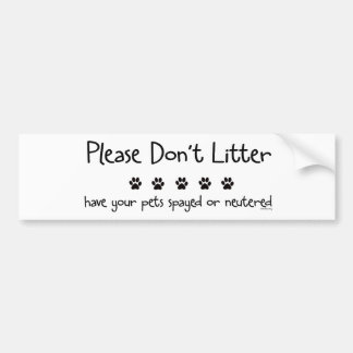 Plese Don't Litter Bumper Sticker