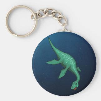 Plesiosaur Basic Round Button Key Ring