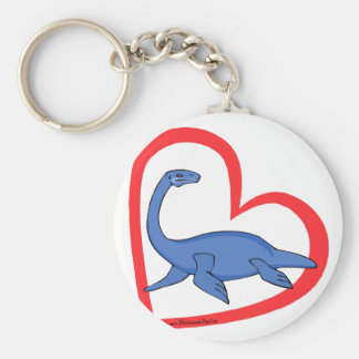 Plesiosaur Heart Basic Round Button Key Ring