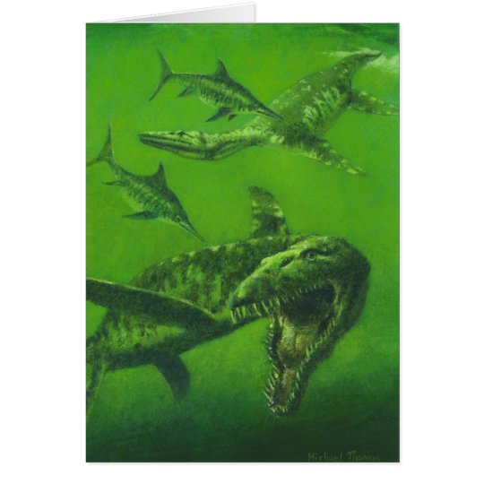 Pliosaur Dinosaur Greetings Card