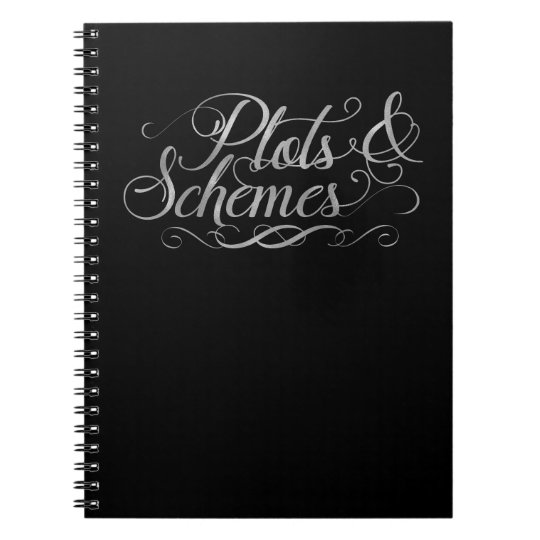 Plots & Schemes Black & Faux Silver Typography Spiral Notebook