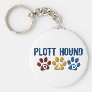 PLOTT HOUND Dad Paw Print 1 Basic Round Button Key Ring