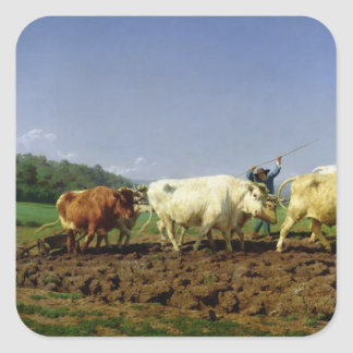 Ploughing in Nivernais, 1849 Square Sticker