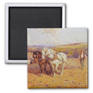 Ploughing Square Magnet