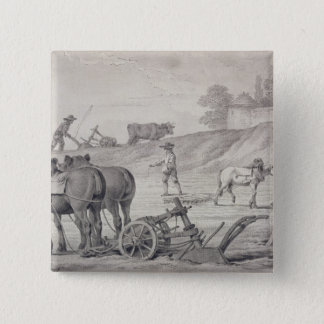 Ploughing the Fields 15 Cm Square Badge
