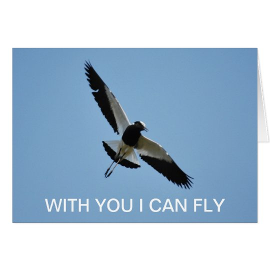 Plover in flight - with you I can fly Card
