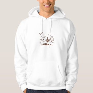 Plover Landing Island Woodcut Hooded Pullover