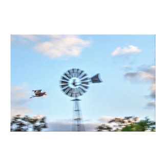PLOVER & WINDMILL RURAL QUEENSLAND AUSTRALIA GALLERY WRAPPED CANVAS