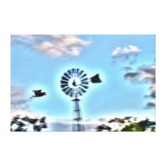 PLOVER & WINDMILL RURAL QUEENSLAND AUSTRALIA STRETCHED CANVAS PRINT