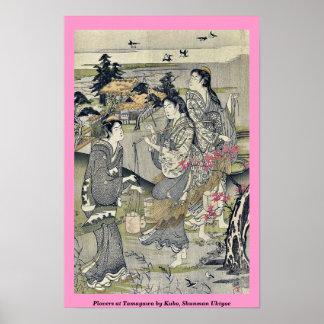 Plovers at Tamagawa by Kubo, Shunman Ukiyoe Print