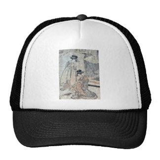 Plovers by Utamaro II, d Ukiyoe Mesh Hats