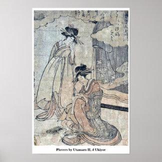 Plovers by Utamaro II, d Ukiyoe Print