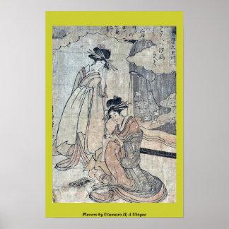 Plovers by Utamaro II, d Ukiyoe Poster